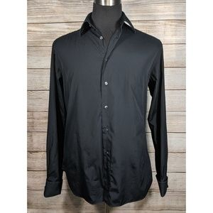 Zara Man Shirt Black Mens Casual Long Sleeve 17